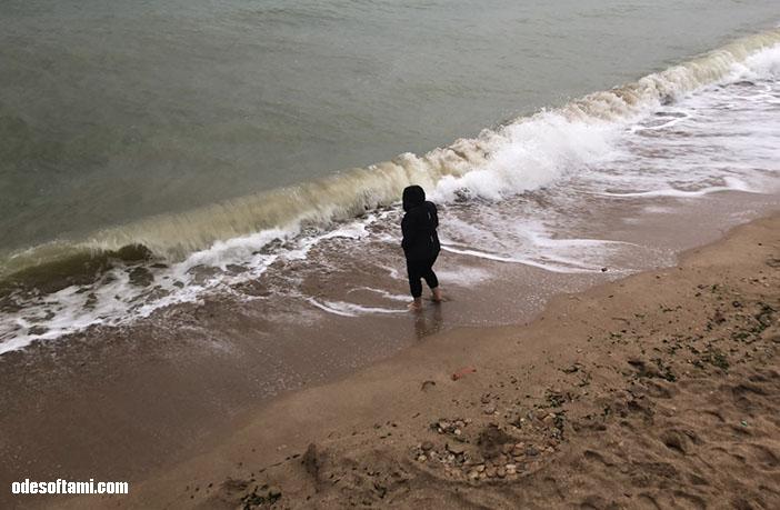 на море в дождь